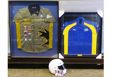 2 x Framed Signed Shirts Lowndes & Whincup, and 1 x Signed ERG Helmet Murray Carter