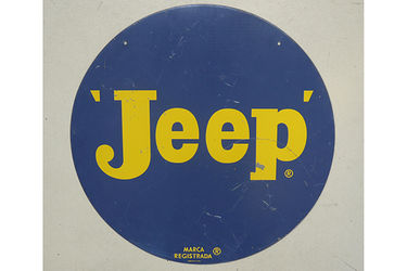 Tin Sign - c1960s Jeep 'Double sided' Australian dealer sign by Standard Signs Sydney (76cm Dia.)