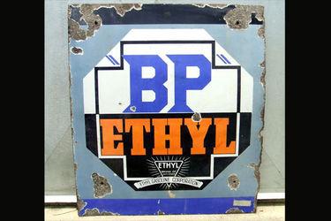 2 x Signs- BP Ethyl Enamel Sign & Castrol Motor Oil Tin