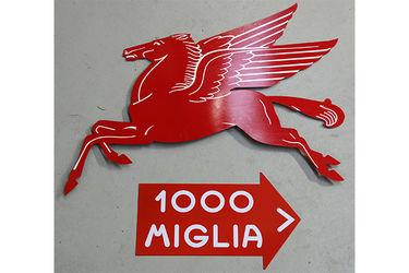 Tin Signs x 2 - Large Mobilgas Pegasus & Mille Miglia (Reproduction)