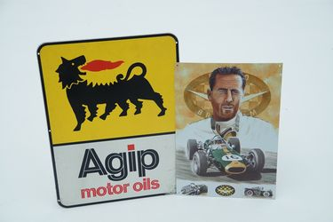 Tin Signs x 2 - AGIP Motor Oils & Sir Jack Brabham in Repco Brabham by Mike Harbar