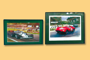 2 x Prints - Grand Prinx Scene by Michael Turner (No.225/250) & Phil Hill in Ferrari 250TR at 1958 L
