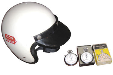 1960's A.G.V Helmet & 2 x Breitling Sprint Stop Watches