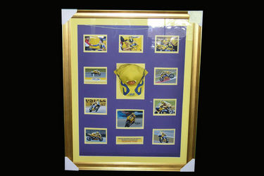 CHARITY LOT - Frame containing 10 prints & Cap - featuring signed print of world champion Valentino