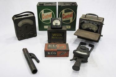 2 x Castrol Motor Oil Tins & Collection of Early Electrical Testing Equipment