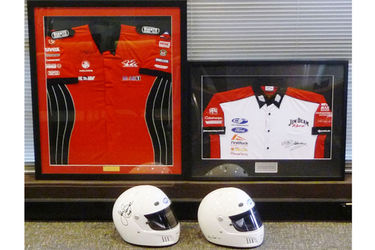 2 x Framed Signed Shirts Skaife,  Johnson and 2 X Signed ERG Helmets Bowe,  Firth