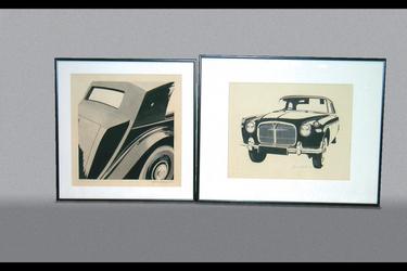 2x Paintings - Wash - Bentley Mk6, Pen & Ink - Rover P5