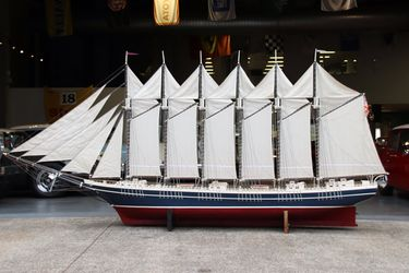 Model Ship - Scratch Built Timber 6 Mast Sailing Ship