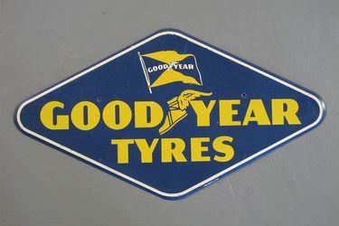 Tin Sign - Goodyear Tyres Single Sided Diamond  (72 x 40cm)