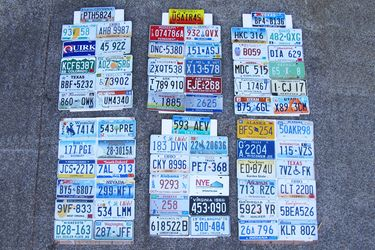 Number Plates - 68 Assorted US Licence Plates (mounted on 6 boards)