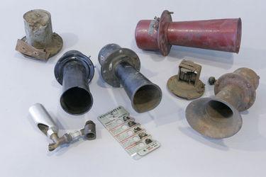 4 x Assorted Klaxon Horns, Blow Torch and Plugometer Gauge