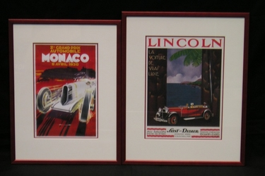 2 Framed Prints - 1 x 1930 Monaco GP, 1x Lincoln La Voiture De Vrai Luxe