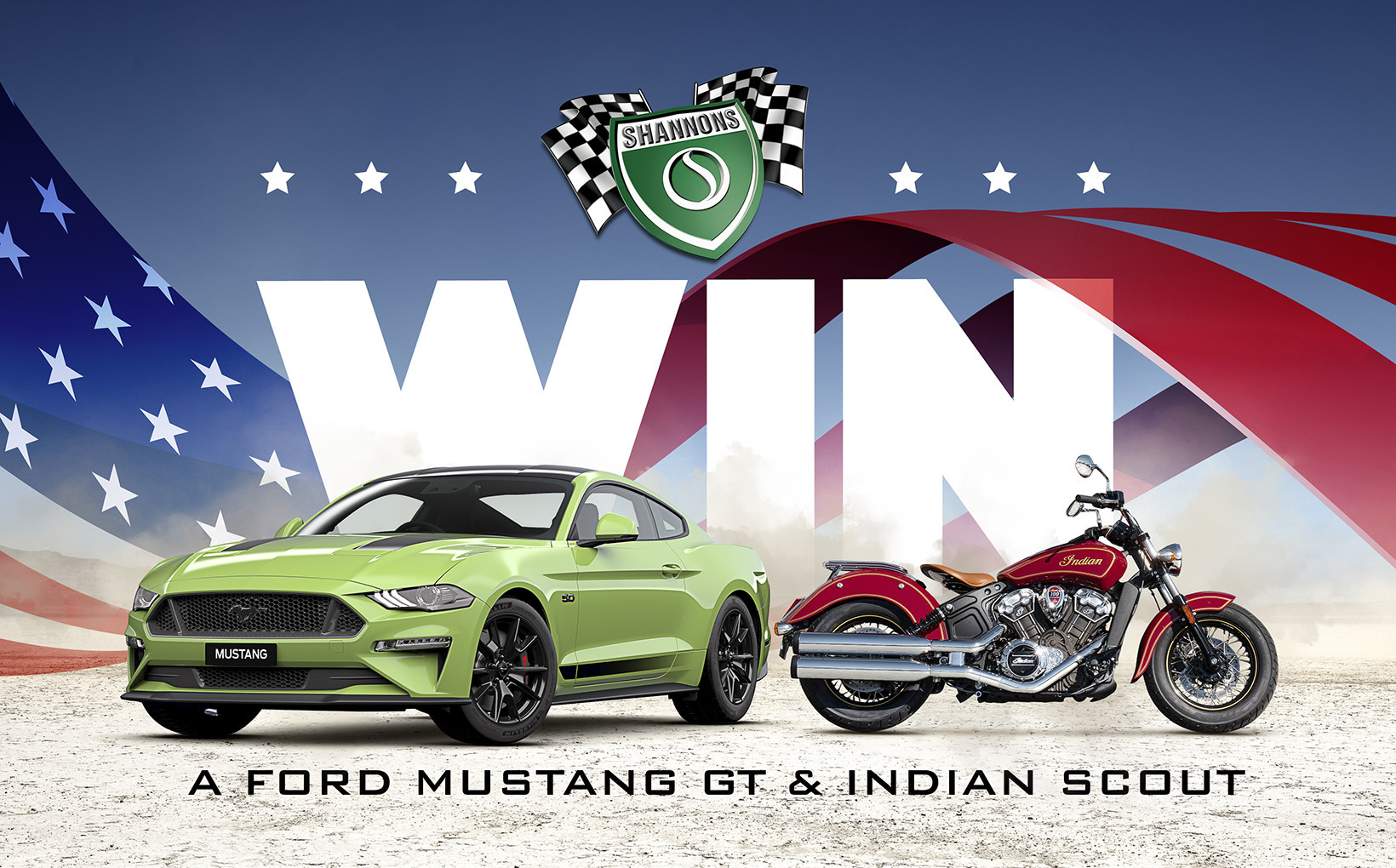 Win a Ford Mustang GT & Indian Scout Motorcycle