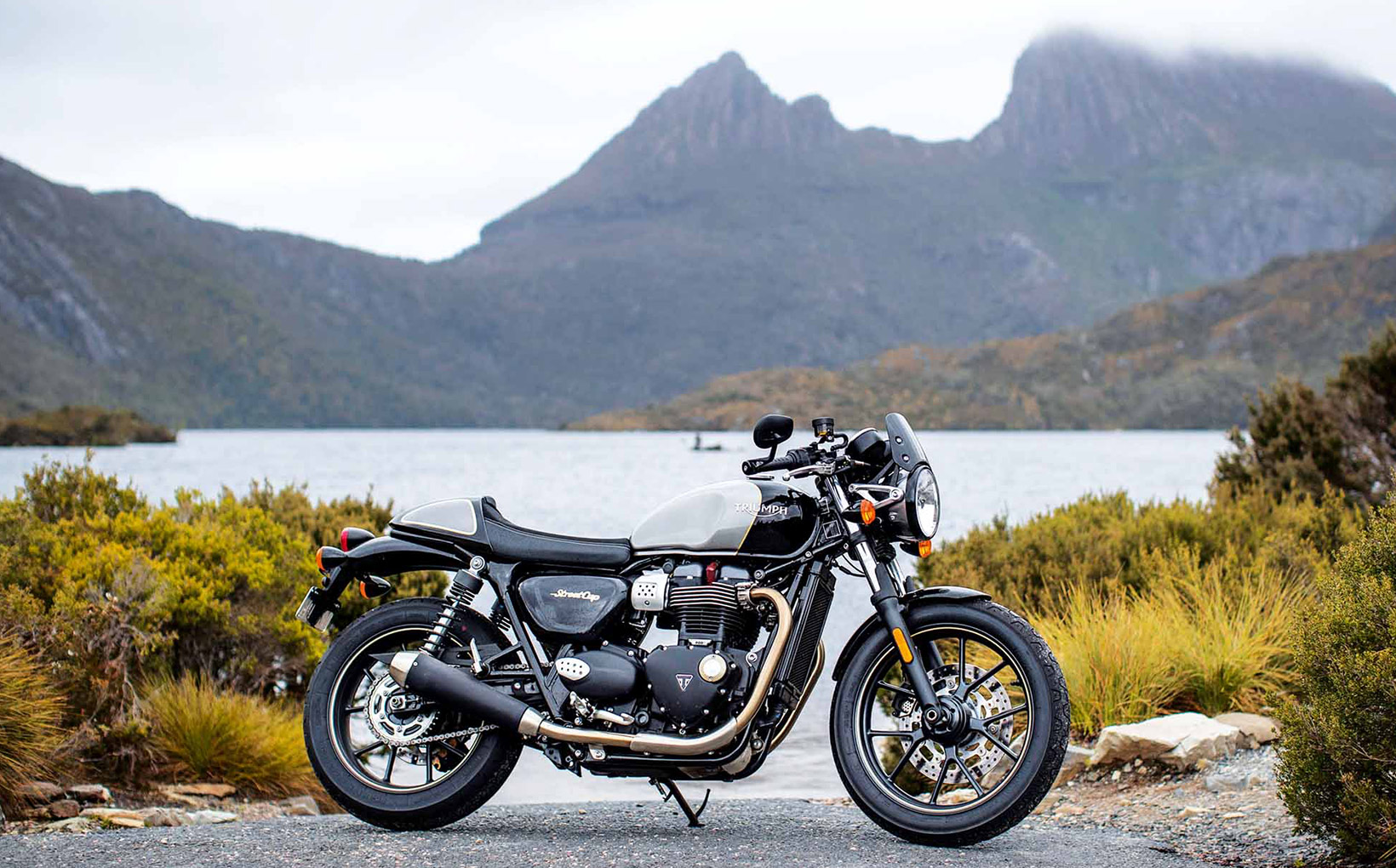 Triumph T100 and Street Cup:  Tassie by Trumpet