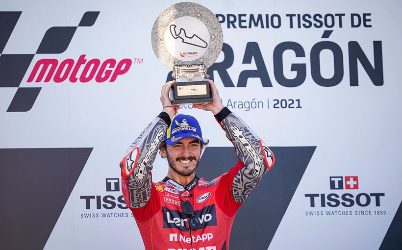 Hard Work Pays Off for Pecco Bagnaia Winning First MotoGP Race at MotorLand Aragon with Marc Marquez Battling him to Finish Second!