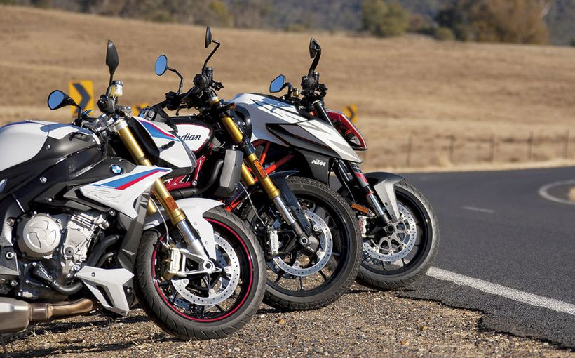 Indian FTR1200 S RR + KTM Super Duke R + BMW S 1000 R Sport: Bare Metal