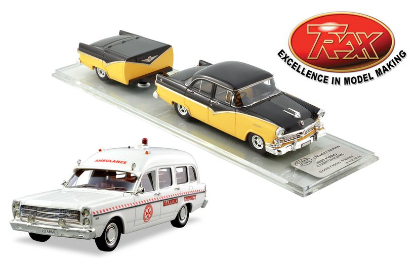 TRAX Ford ZD Fairlane Ambulance and 1957 Ford Customline and Trailer Model Car Reviews