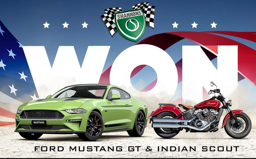 Shannons Ford Mustang GT & Indian Scout Motorcycle Winner Announced