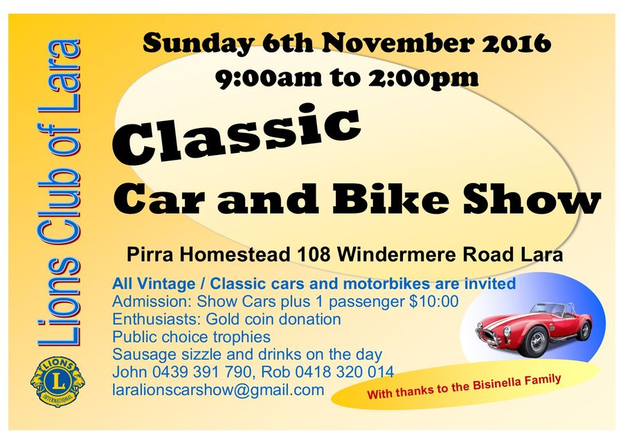 Classic Car and Bike Show - Lara Lions Club