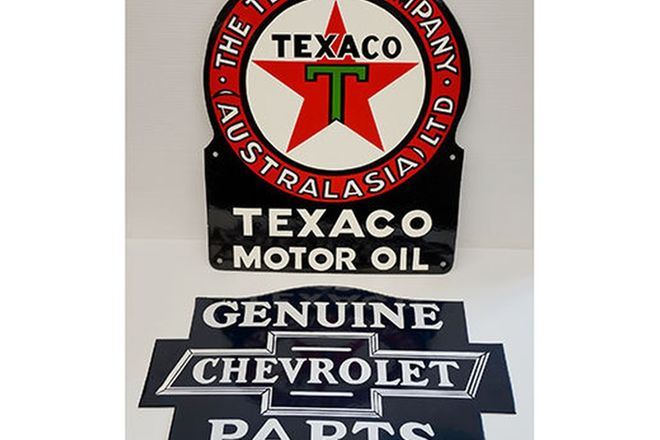 Enamel Signs - 'Texaco Motor Oil' & 'Genuine Chevrolet Parts' (reproduction)