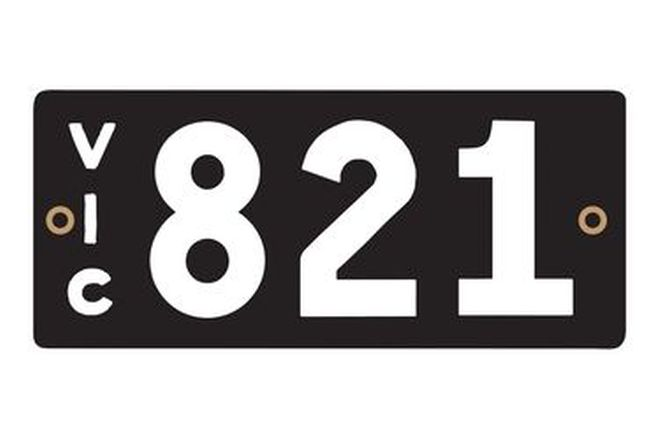 Victorian Heritage Numerical Number Plates '821'
