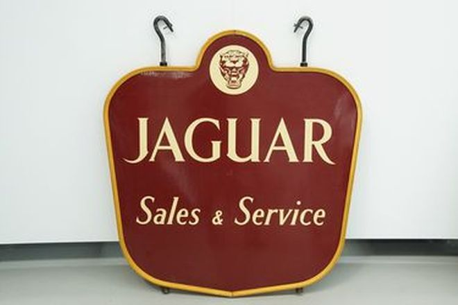 Enamel Sign - Jaguar Sales & Service Double Sided (106 x 100cm) - From the 'Ian Cummins Collection'