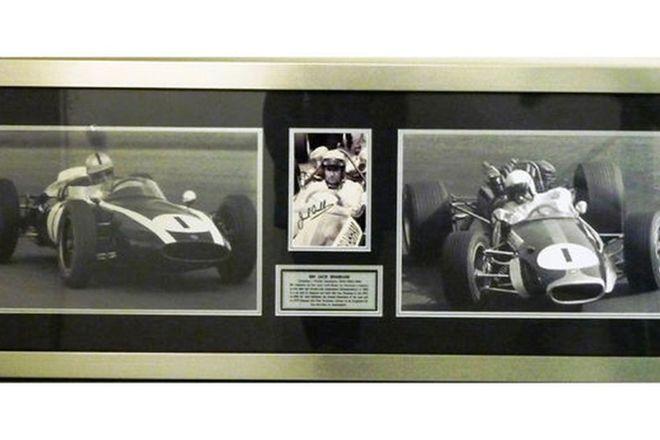 Framed Signed Print - Sir Jack Brabham Formula 1 World Champion 1959 1960 1966 (51cm x 134cm)