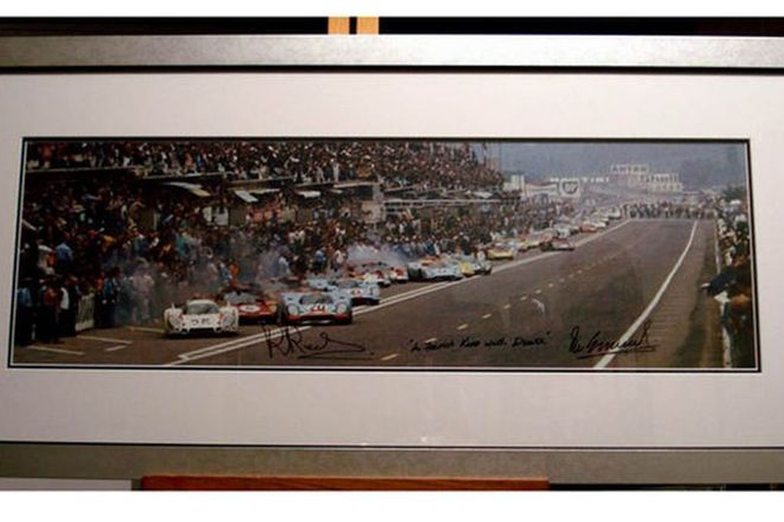 Framed Print - 1970 Le Mans 24 Hour Race signed by Porsche works drivers Vic Elford & Brian Redman