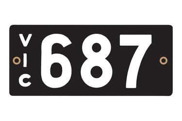 Victorian Heritage Numerical Number Plates - '687'