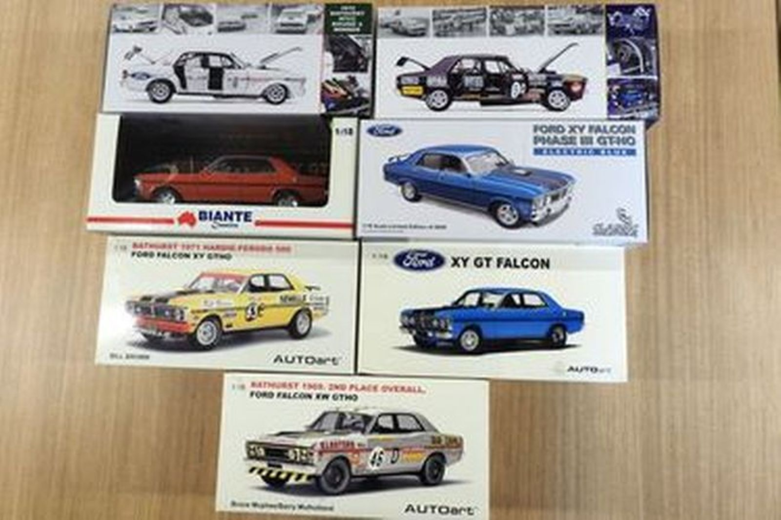Model Cars - 7 x Ford Falcon Road & Race XY, XW Boxed with Certificates -  1:18 Scale