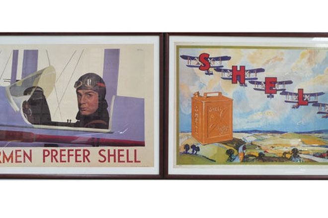 Framed Prints - 2 x Shell Aviation prints Pre-War Art Deco Style