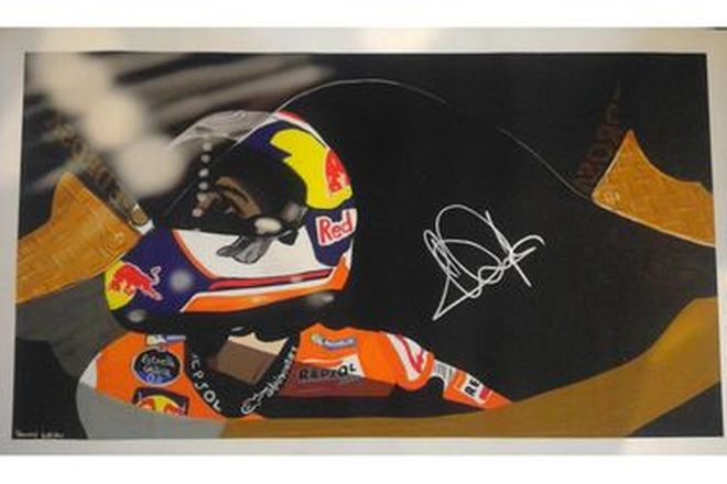 Painting of Dani Pedrosa Signed - 29cm x 52cm approx