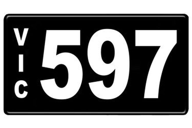 Number Plates - Victorian Numerical Number Plates '597'