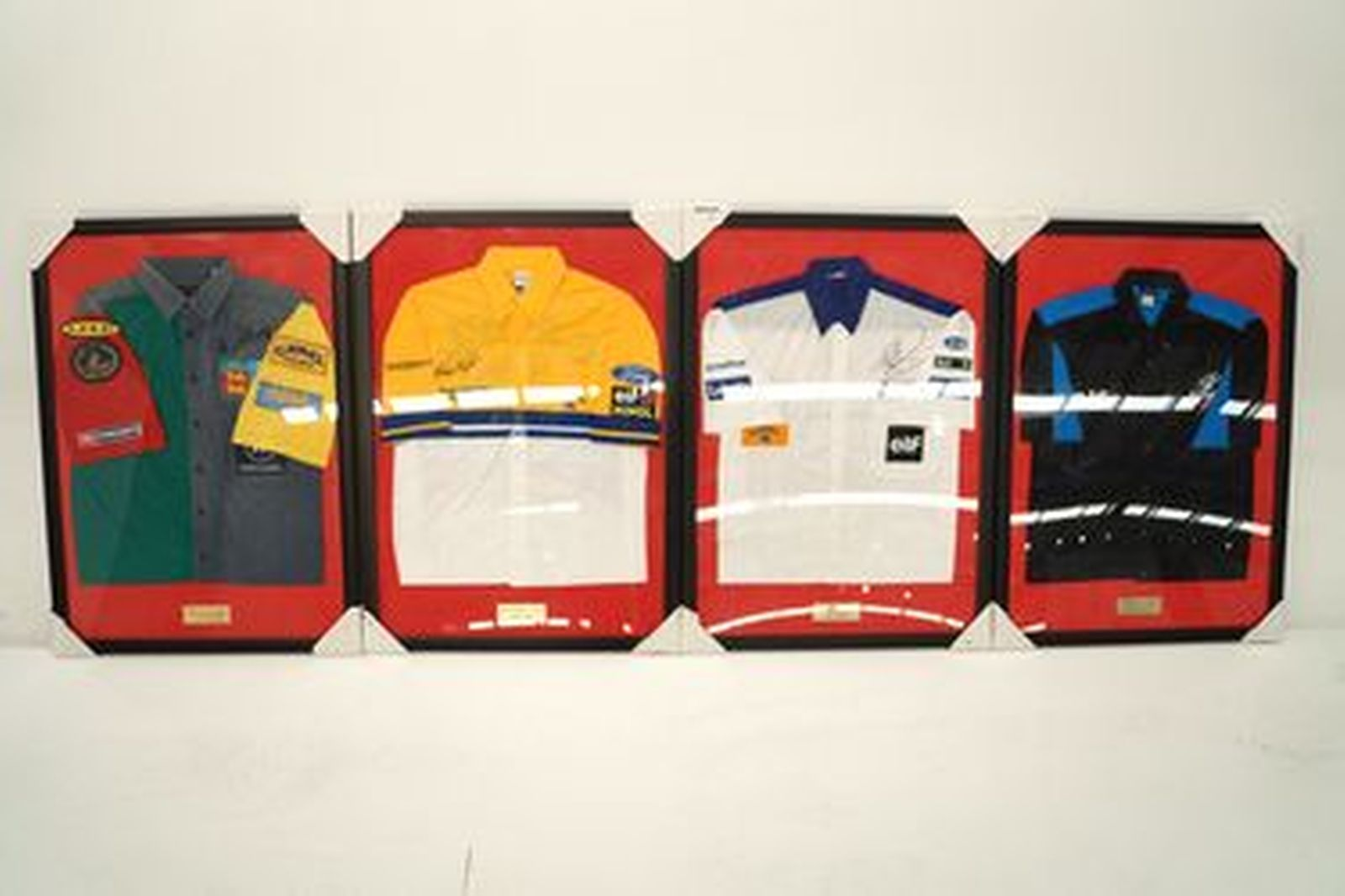 Framed Shirts - 4 x Assorted F1 Team Shirts signed from Adelaide GP 1989-91,92,93 (65 x 89cm each)