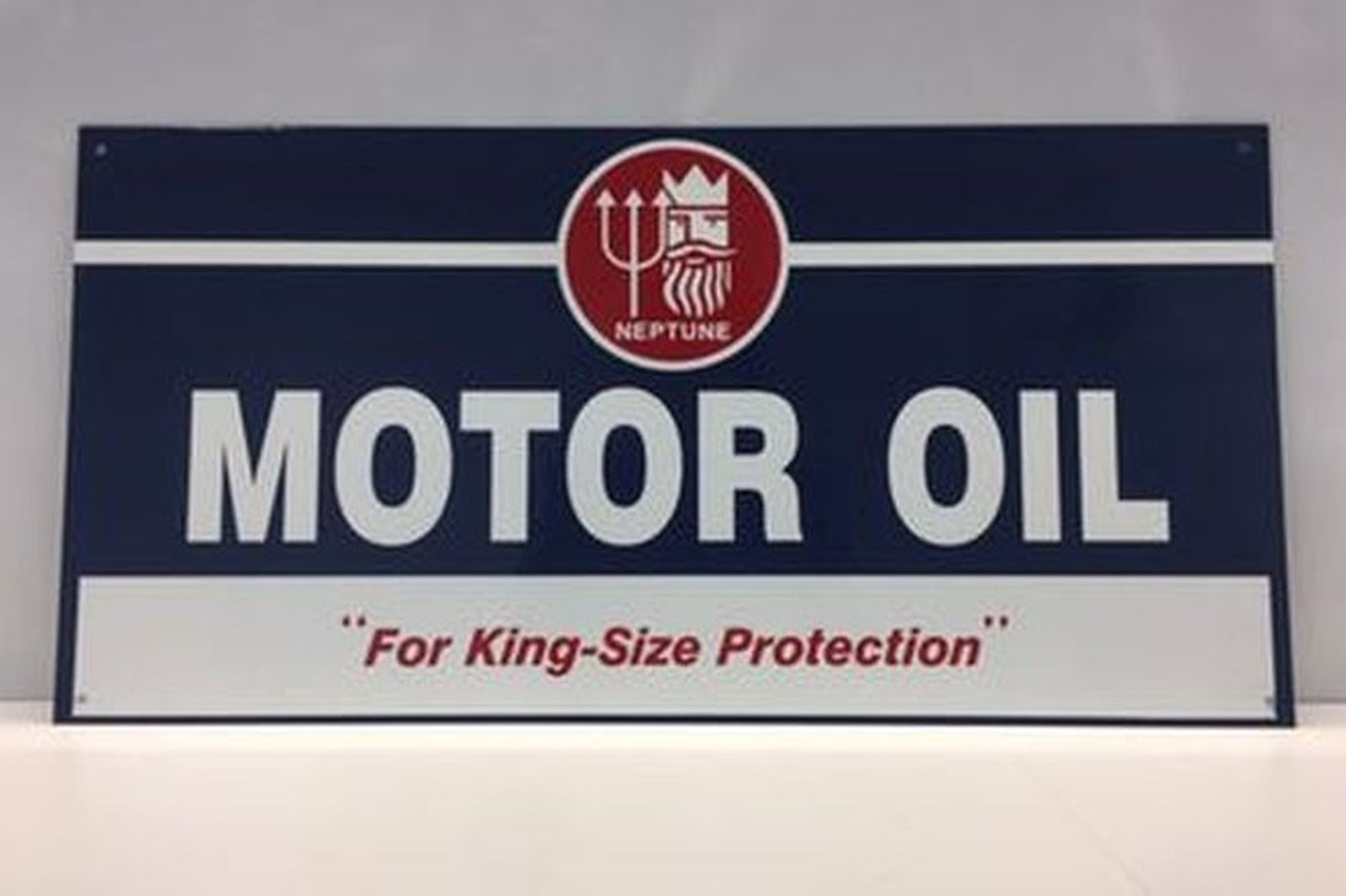 Enamel Sign - Reproduction Neptune Motor 'For King Size Protection' (61 x 32cm)