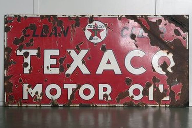 Enamel Sign - Texaco Motor Oil on Timber Frame (92 x 183cm)