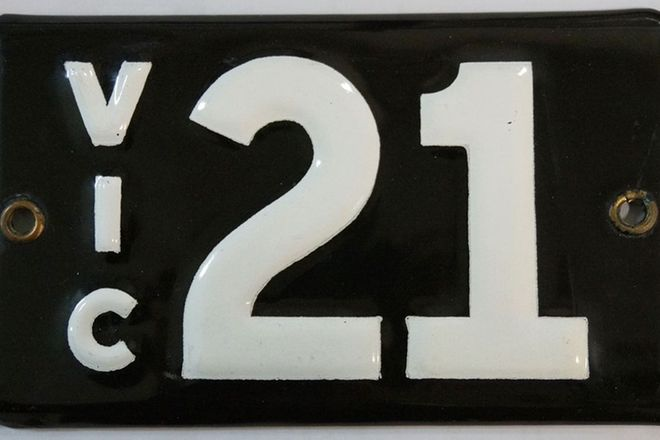 Number Plates - Victorian Numerical Number Plates '21'