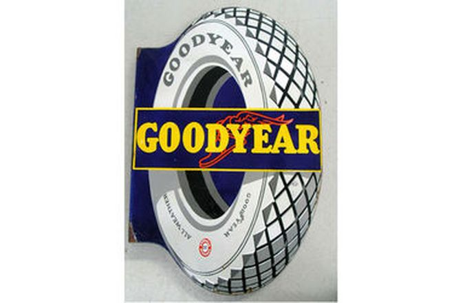 Enamel Sign - Goodyear Tyres Double Sided Post Mount 86cm x 55cm