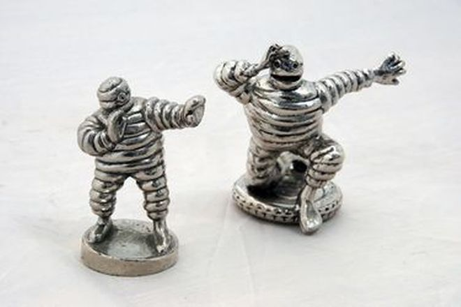 Car Radiator Mascots - Michelin Man in 'Lookout Pose' & 'Bibendum Boxer' Reproduction