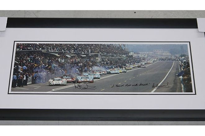 Framed Signed Print - Le Mans 1970 ' A French Kiss with Death' signed by Brian Redman & Vic Elford
