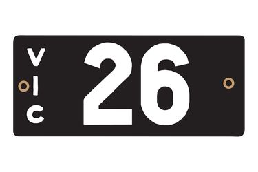 Victorian Heritage Numerical Number Plates - '26'
