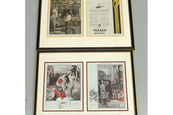 Framed Advertisements x 2 - Texaco Period Advertisements