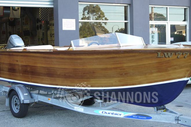Classic Wooden 18' Runabout Boat on Dunbier Single Axle Trailer