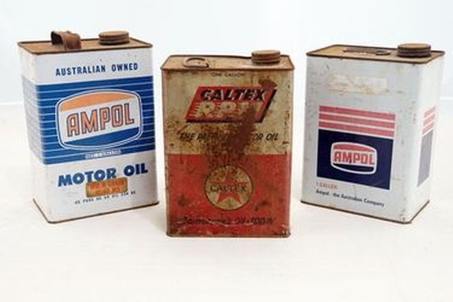 Oil Tins Assorted -  1 x Caltex, 2 x Ampol