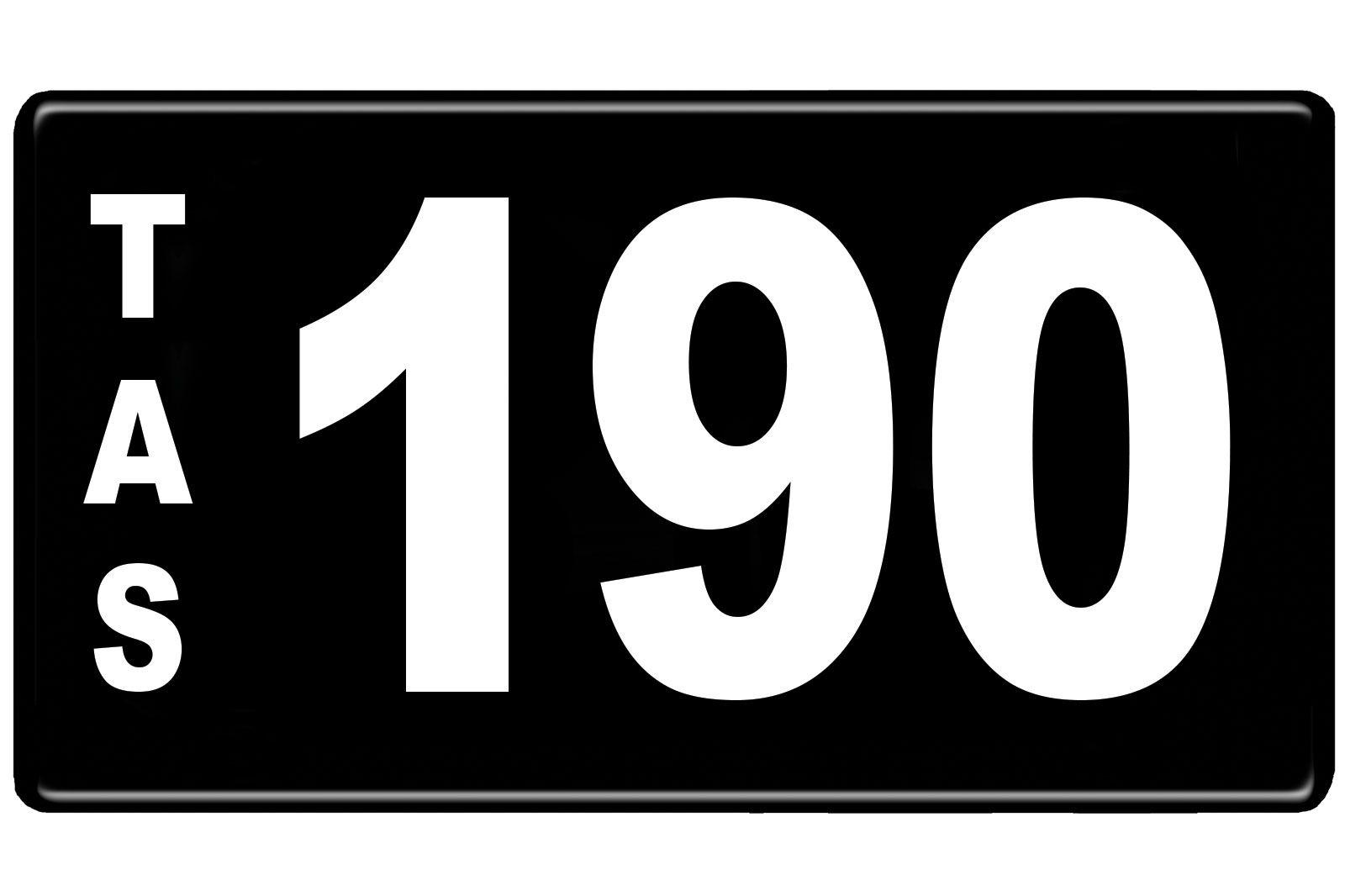 Number Plates - Tasmanian Numerical Number Plates '190'