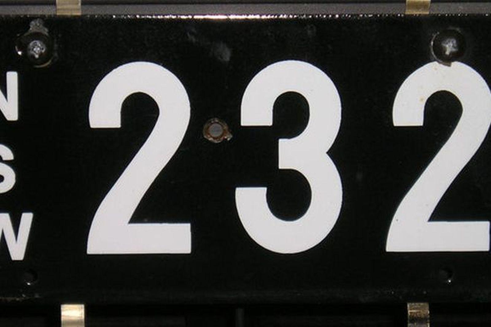 NSW Vitroeus Enamel Number Plates '232'