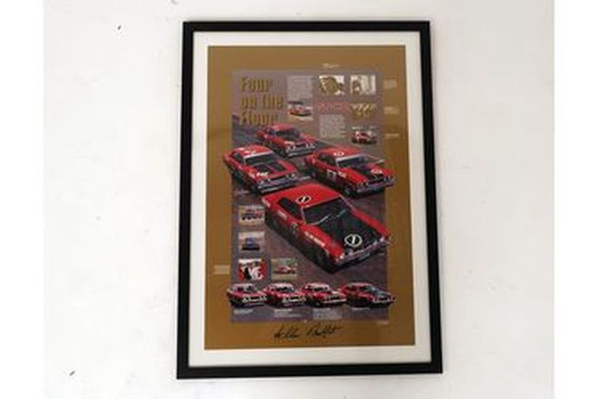 Framed Signed Poster - 'Four on the Floor' Ford Falcon GT-HO signed by Allan Moffat (105 x 75cm)