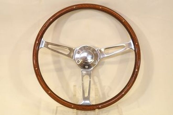 Steering Wheel - SAAS Classic 15'' inch 3-Spoke wood rim with Alloy slotted spoke (as new)