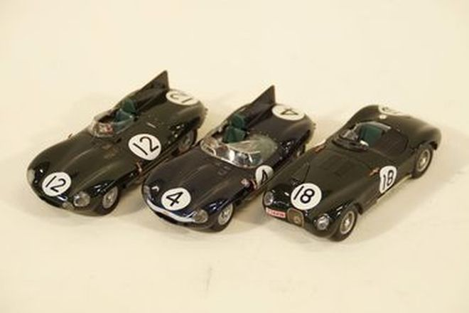 Model Cars x 3  - Quartzo Jaguar D-Type #4, #12 & Jaguar C-Type #18 (1:43 scale)
