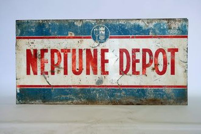 Tin Sign - Neptune Depot (184 x 93cm)